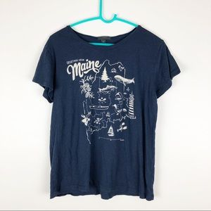 J. Crew State of Maine Graphic T-Shirt Navy Blue